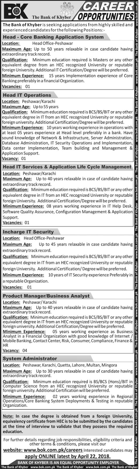 ⇨ Jobs – Career opportunities at Bank of Khyber  – Apply by 22 April 2018