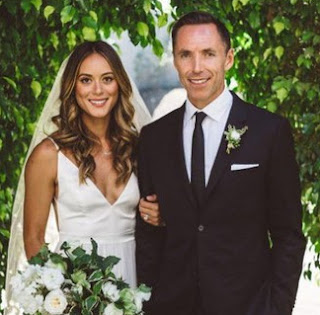 Lilla Frederick with her husband Steve Nash in their wedding dress