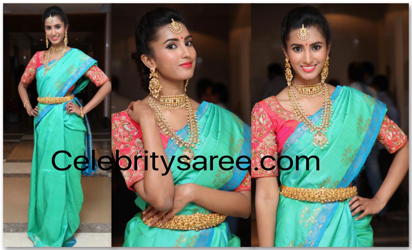 Telugu Actress in Sea Green Silk Saree - Saree Blouse Patterns