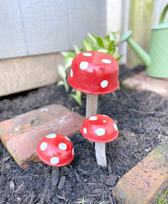 Red Garden mushrooms made with driftwood.