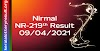 Nirmal NR 219 Lottery Result 9-4-2021