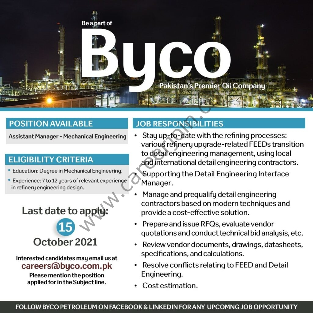 careers@byco.com.pk - Byco Petroleum Pakistan Ltd Jobs 2021 in Pakistan