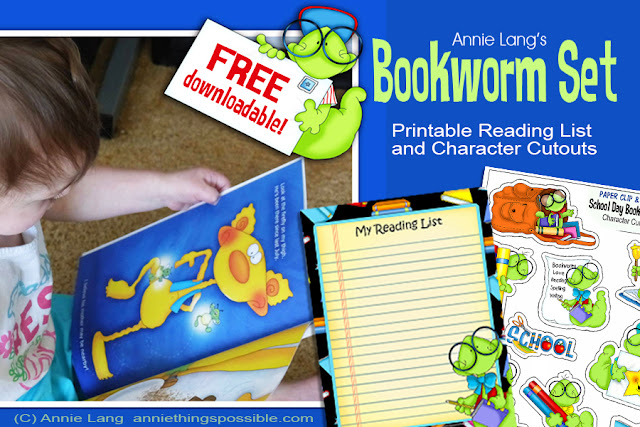 Download Annie Lang's full color, ready to print Bookworm character papercraft set for FREE at www.anniethingspossible.com