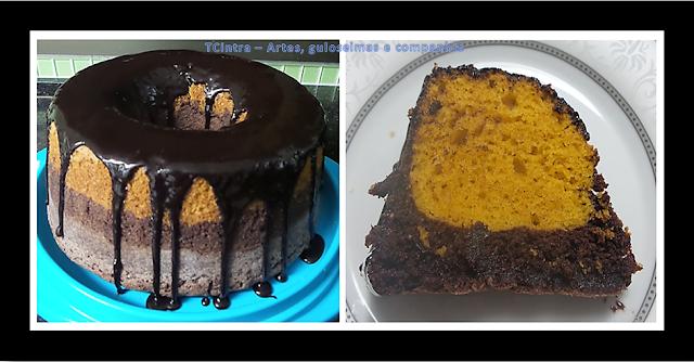 BOLO CENOURA E CHOCOLATE; bolo caseiro; bolo duas cores; bolo mesclado; bolo mármore; bolo de liquidificador; calda de chocolate