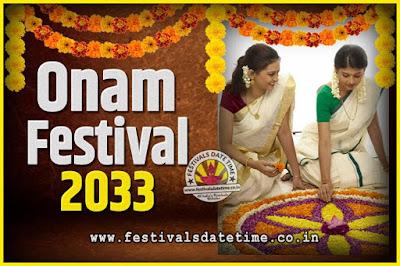 2033 Onam Festival Date and Time, 2033 Thiruvonam, 2033 Onam Festival Calendar