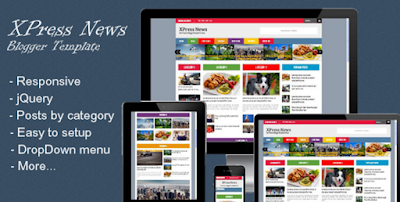 XPress News Responsive Blogger Template ,  download gratis template xpress news premium