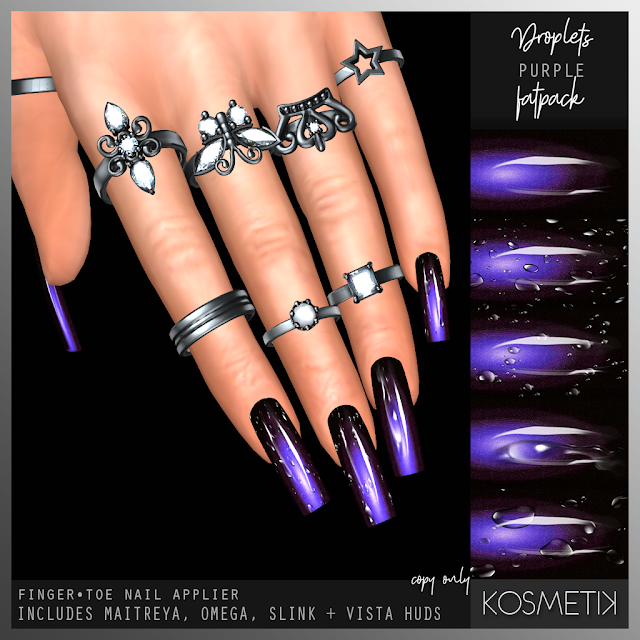 KOSMETIK New Release - Droplets Purple Nails