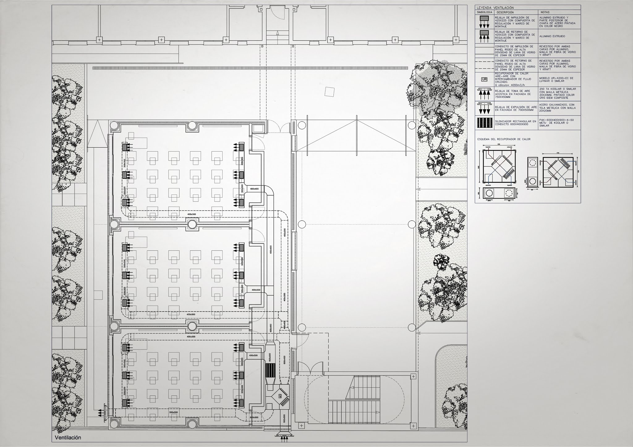 LACAL arquitectura. Arquitectos Granada. Javier Antonio Ros López, arquitecto. Daniel Cano Expósito, arquitecto. Ampliación de IES Alhendín. Instalación de Ventilación.