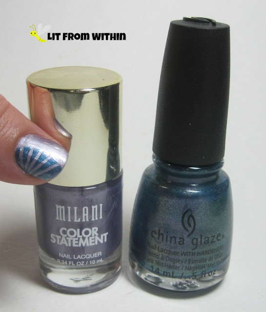 I used Milani Lovely Amethyst for the base, and China Glaze December to Remember for the design.