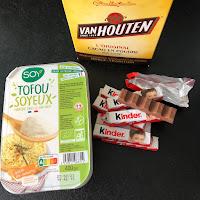 Ingrédients des crèmes au chocolat Kinder (tofu soyeux)