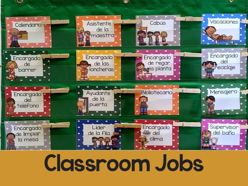 Classroom Jobs l Editable Classroom Jobs in Spanish l Trabajos del salón