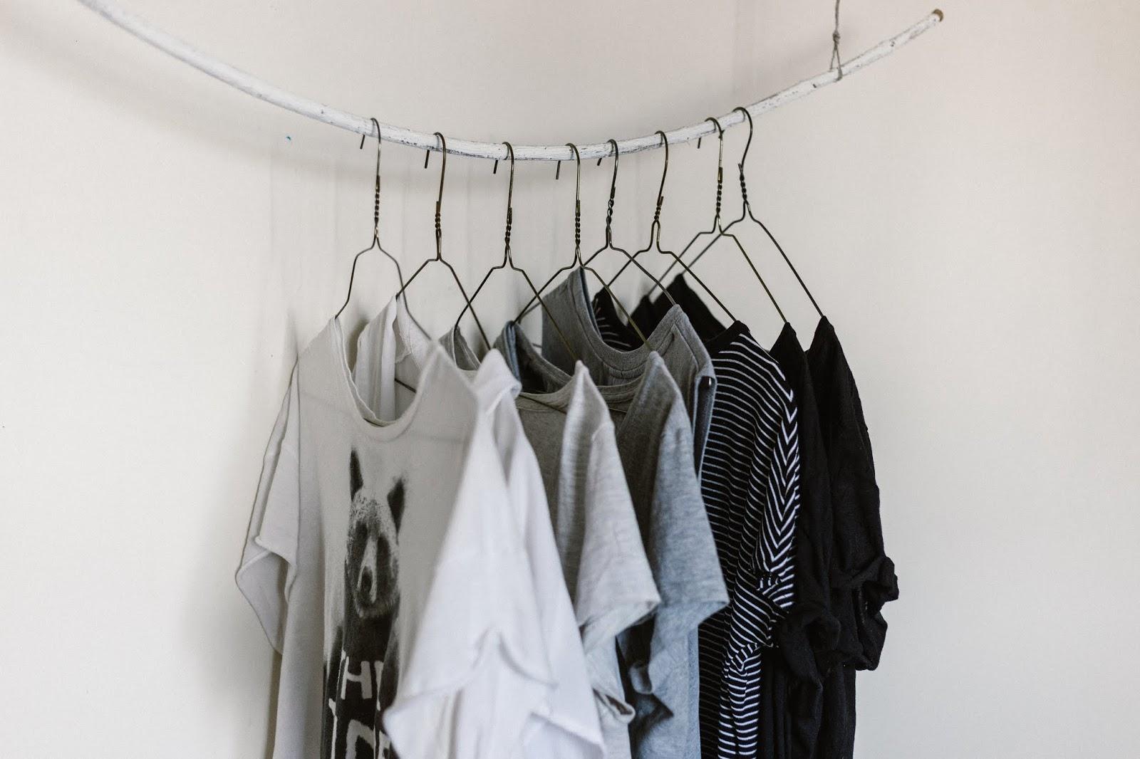 Garde-robe minimaliste : ensemble de t-shirts dans les tons blancs-gris, suspendus à une branche