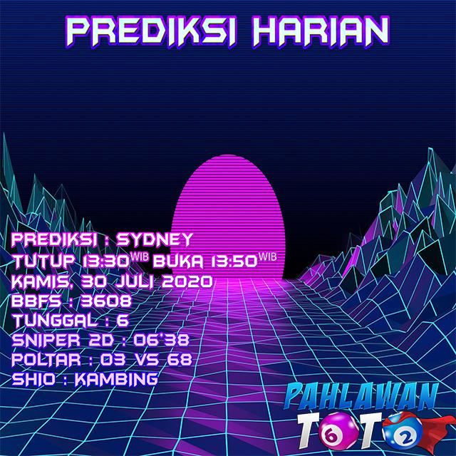 Prediksi Harian Sydney, Kamis 30 Juli 2020 - Paito Warna