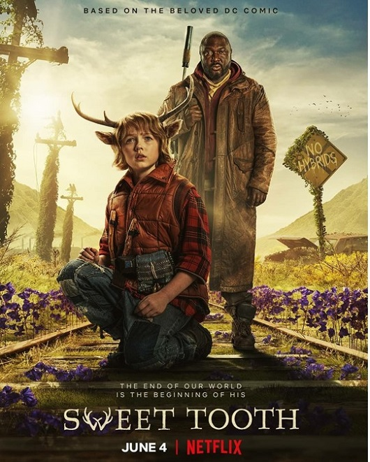 Netflix poster for Sweet Tooth showing Gus (Christian Convery) and Jepperd (Nonso Anozie) travelling along abandoned rail tracks