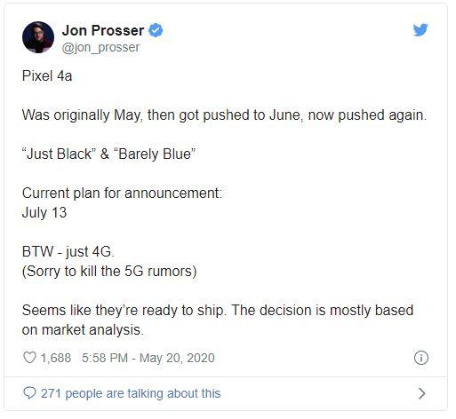 Google Pixel 4a: Leaker puts further delay