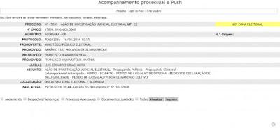 O Ministério Público Eleitoral da 60ª Zona Eleitoral de Acopiara ajuizou uma ação de investigação contra o Prefeito de Acopiara