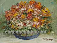 Pour vous réchauffer le coeur, huile 4 x 5 par Clémence St-Laurent - fleurs jaunes, orange et rouges dans un vase