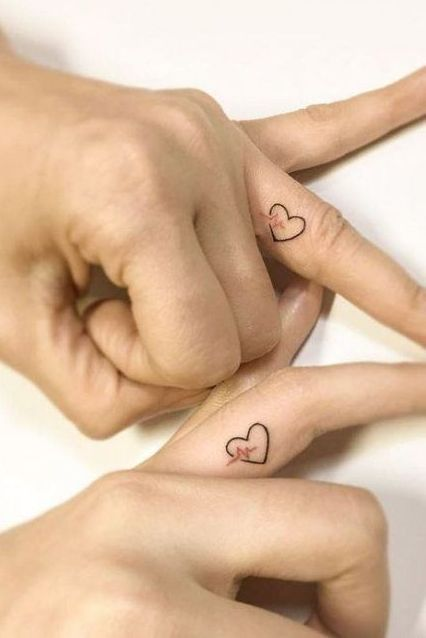 Heart Tattoo on Finger Couple Matching Designs