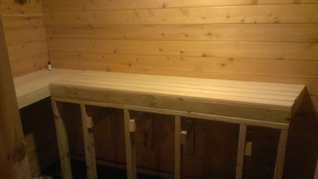 Both top sauna benches complete.