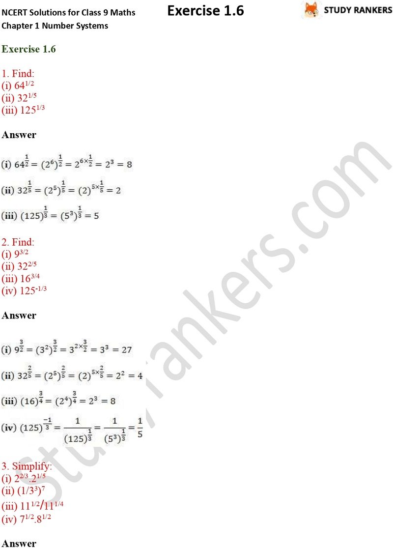 NCERT Solutions for Class 9 Maths Chapter 1 Number Systems Exercise 1.6 Part 1