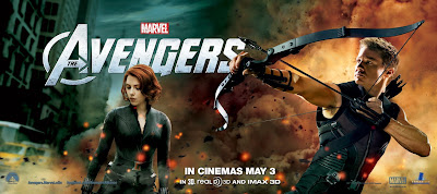 The Avengers International Movie Banners - Scarlett Johansson as Black Widow & Jeremy Renner as Hawkeye