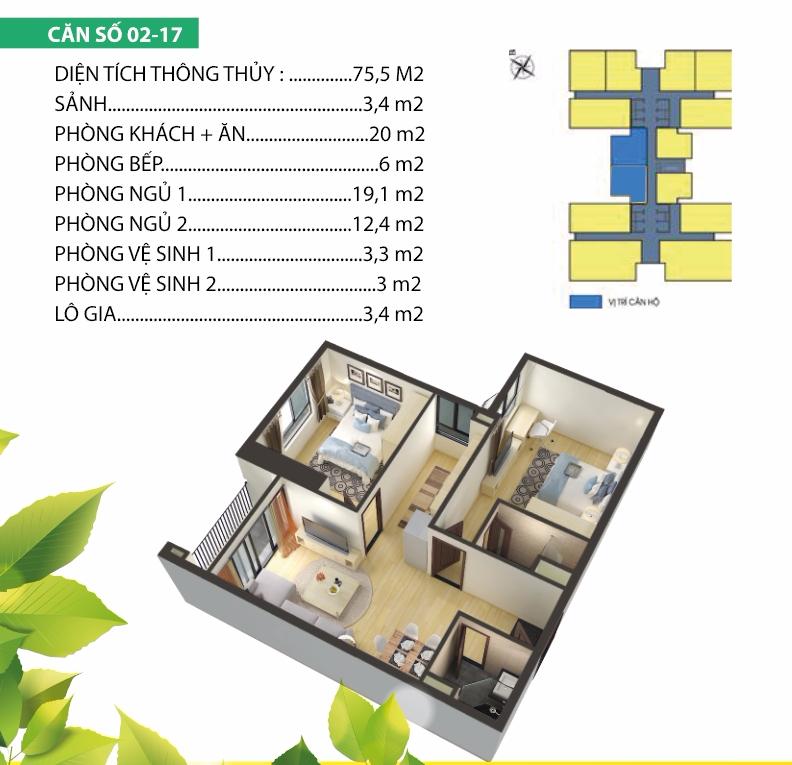 Thiết kế căn 02-17 chung cư Housinco Premium