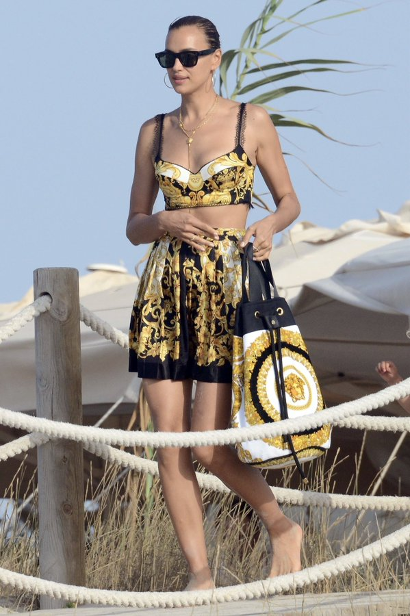 Irina Shayk spotted out and about in Versace separates in Ibiza