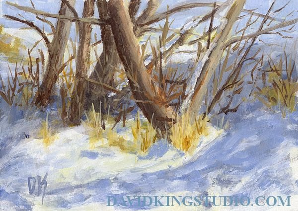 art painting snow landscape nature tree trunk impressionism