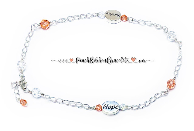 Peach and White Cancer Survivor Anklet
