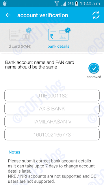 Zebpay bank account details approved