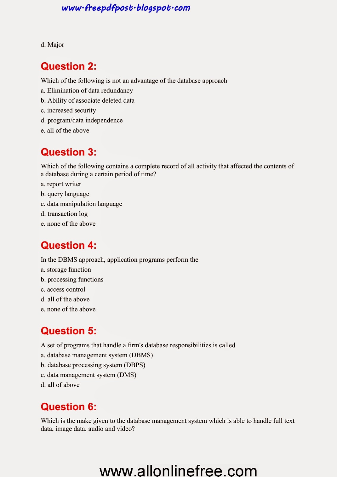 Question pdf answer computer and