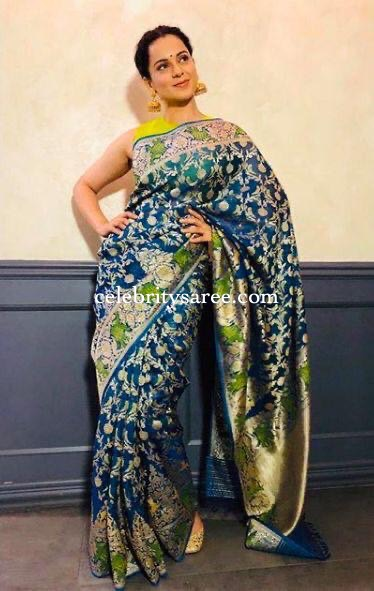 Kangana Ranauth in Peacock Blue Benaras Saree
