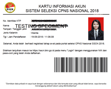 contoh kartu informasi akun pendaftaran cpns sscn atau sscasn