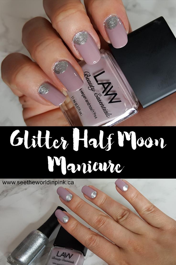 Manicure Tuesday - Glitter Half Moon Manicure