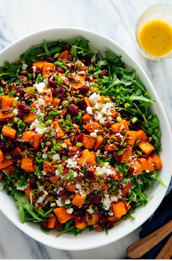 Hearty Sweet Potato, Arugula & Wild Rice Salad With Ginger Dressing