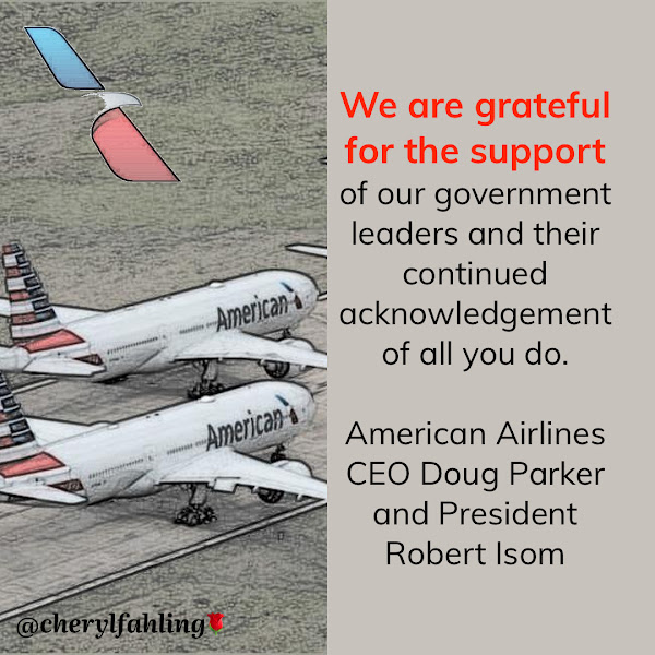 We are grateful for the support of our government leaders and their continued acknowledgement of all you do. — American Airlines CEO Doug Parker and President Robert Isom
