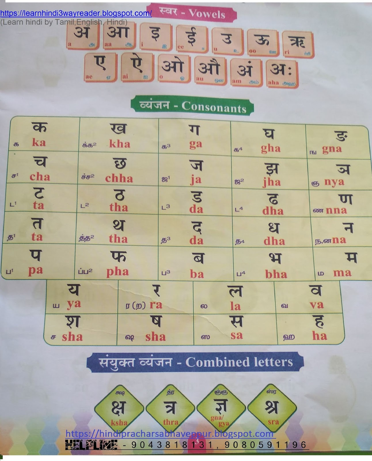 Basic Hindi Vowels With Picture Hind English And Tamil