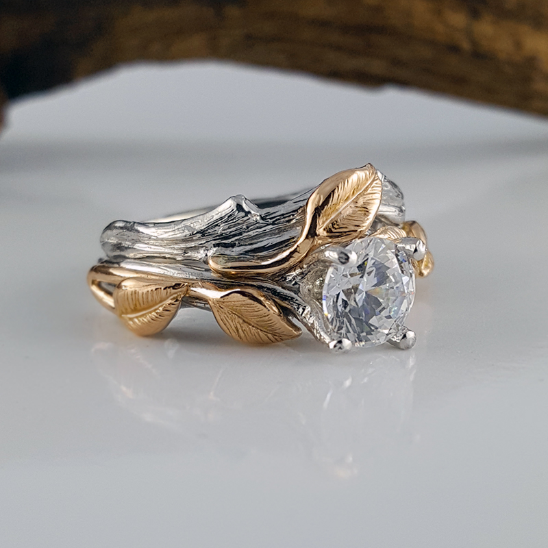 Dawn Vertrees Raw Uncut Rough Engagement Wedding Rings Two Tone