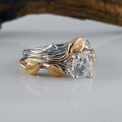 All hand sculpted using the lost wax method. Leaf and Twig Two Tone Wedding Set