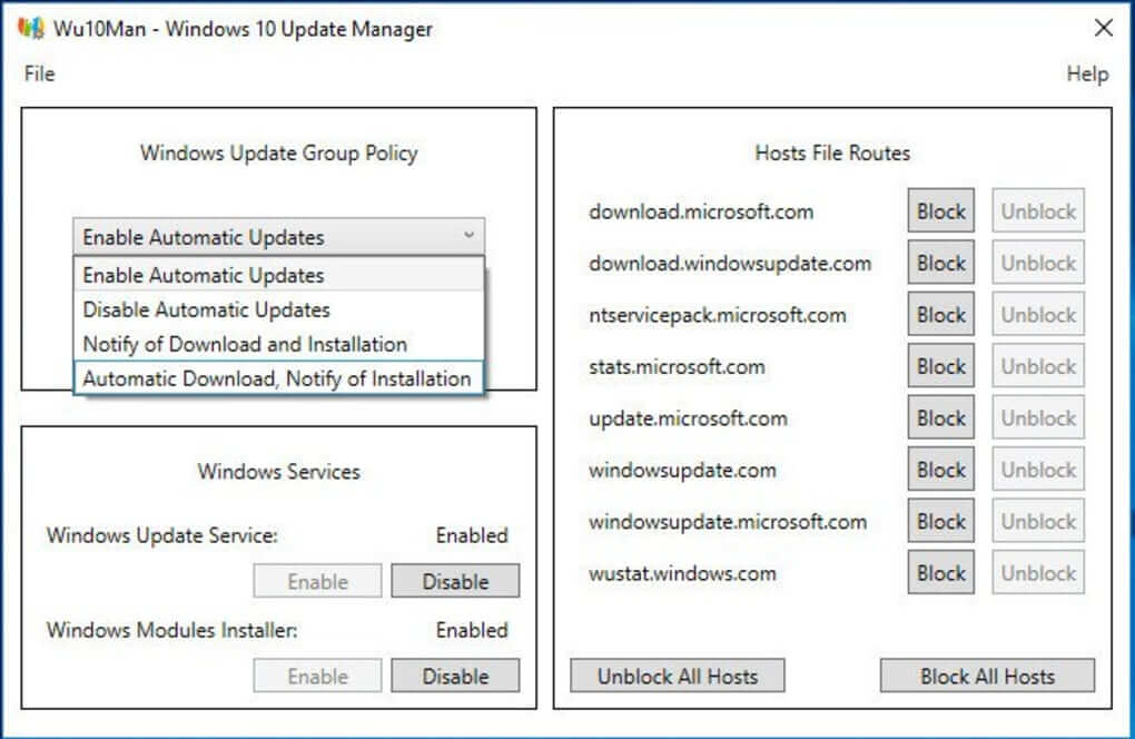 Windows 10 update blocker