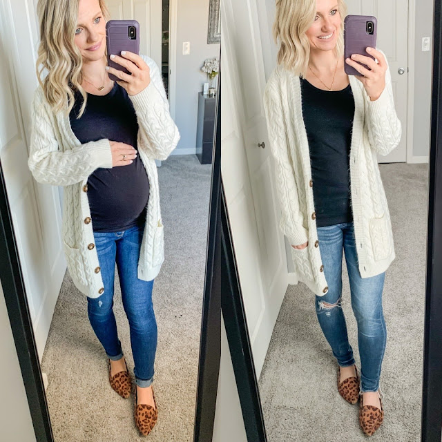 Maternity jeans outfit during and after pregnancy