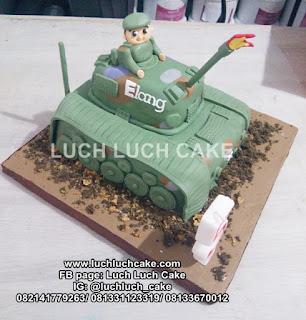 Kue Tart Bentuk Tank 3d Fondant Birthday Cake