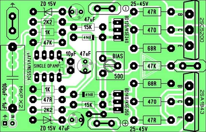 PCB Layout Power Amplifier OCL140W - Electronic Circuit