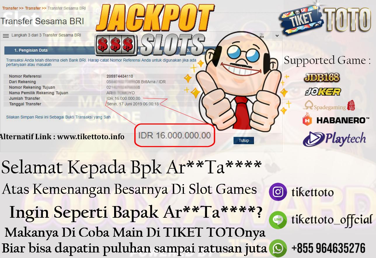 BIG JACKPOT SLOT GAMES PADA TANGGAL 17 JUNI 2019