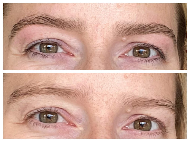2 close up images of my eyes without make up on. The first is after having a wow brow and eye lash tint, the second is before