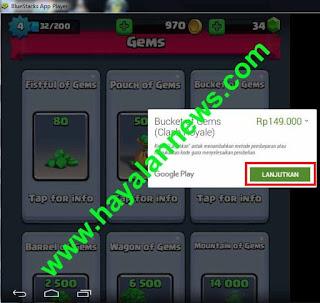 Trik gratis mendapatkan 1200 gems clahs royale