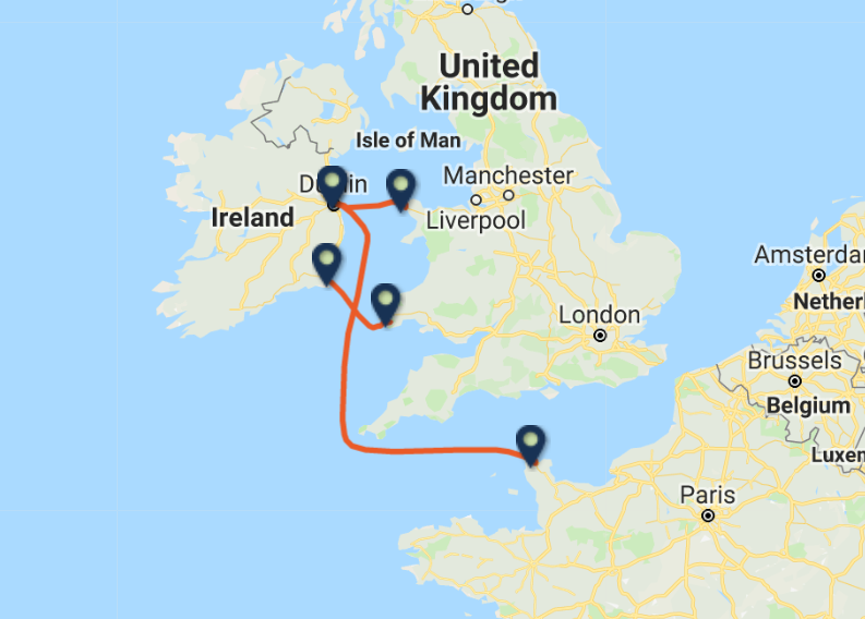 IRISH FERRIES routes and ports