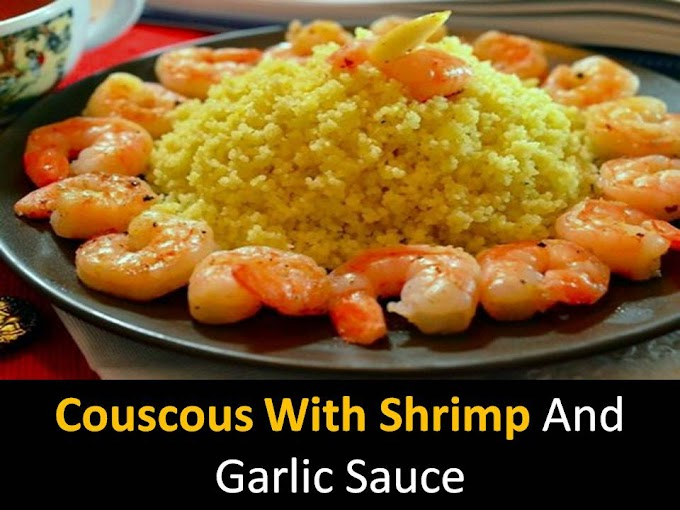 Couscous with shrimp and garlic sauce