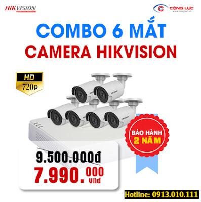 trọn bộ 6 mắt camera Hikvision 1.0 megapixel giá rẻ