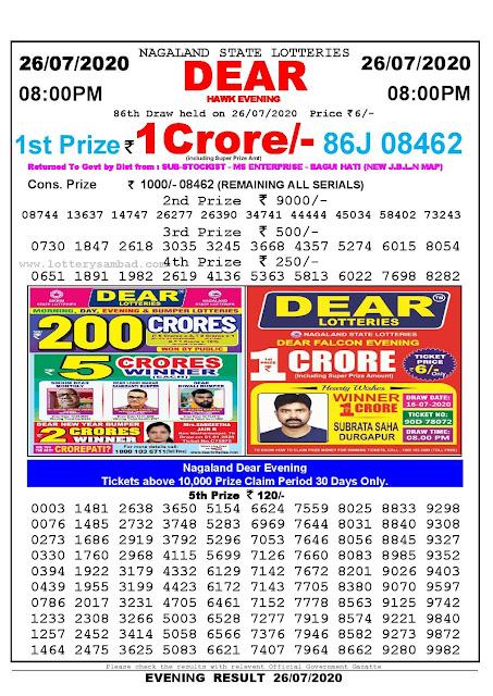 Nagaland State Lotteries 26-07-2020 Lottery Sambad Result 8:00 PM